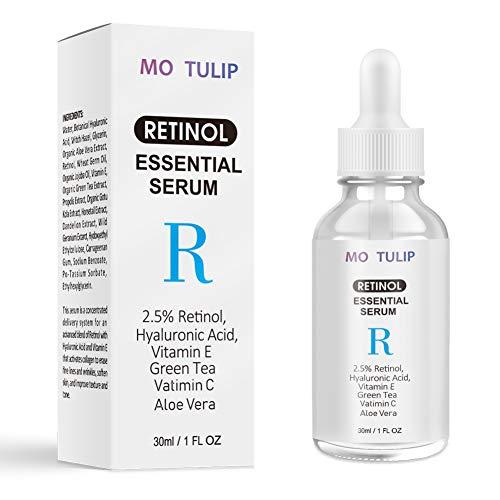 Allouli 2.5% Retinol Face Serum with Hyaluronic Acid Vitamin C Aloe Anti-Wrinkle Anti-Aging Moisturizing Pores Minimizer -