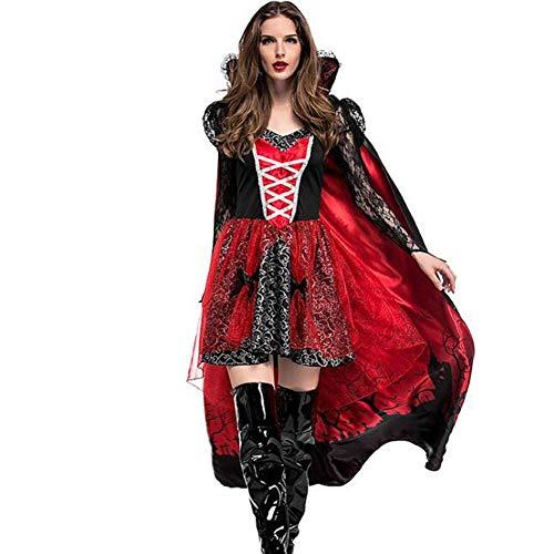 QWE Halloween Kostüm COS Vampir Gräfin Print Mantel aristokratischen Spielanzug Dame - Roten Anzug Teufel Kostüm