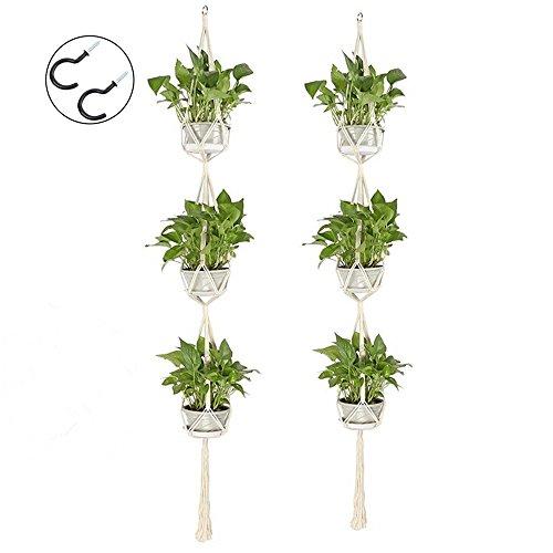 Alumuk Makramee Blumenampel Wand Blumentöpfe Zum Aufhängen Pflanzenhalter Baumwolle Aufhänge Seil mit Holzperlen,180cm, 2er Set - Etagen 2 Buch
