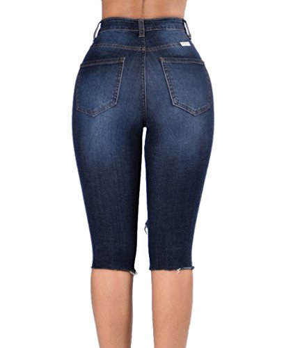 Sentao Frauen Denim Kurze Hose Loch Kurz Jeans Hot Pants Unregelmäßigen Denim Shorts Cut-Outs Stil 5