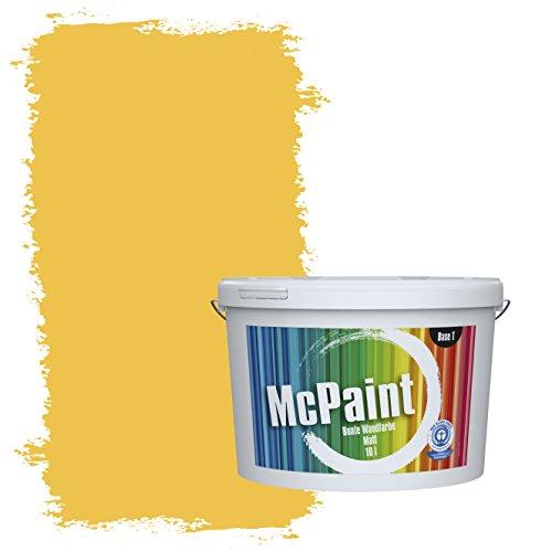 McPaint Bunte Wandfarbe matt für Innen Necktarinengelb 10 Liter - Weitere Gelbe Farbtöne Erhältlich - Weitere Größen Verfügbar