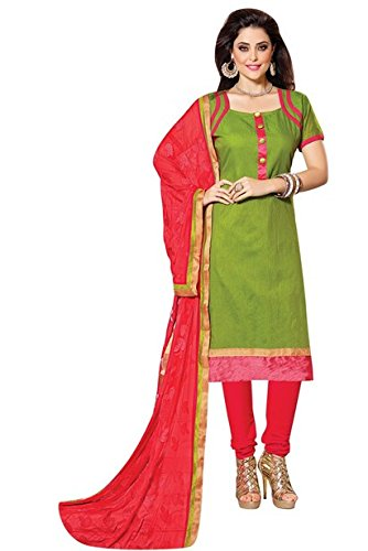 Vibes Womens Patch Work Straight Dress Material (V271-504 _Green _Free Size)