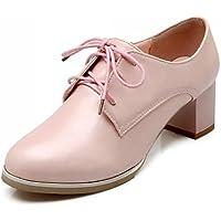 ZQ hug Zapatos de mujer - Tacón Plano - Puntiagudos - Oxfords - Vestido - Semicuero - Negro / Rosa / Almendra , pink-us6.5-7 / eu37 / uk4.5-5 / cn37 , pink-us6.5-7 / eu37 / uk4.5-5 / cn37