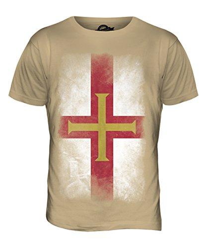 CandyMix Guernsey Verblichen Flagge Herren T Shirt Sand