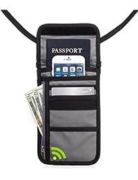 Deluxe Premium RFID oculto cuello funda y cartera de viaje (gris)
