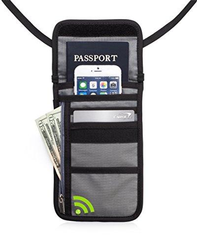 Premium Luxus Brustbeutel mit RFID-Schutz und Reisegeldbeutel (Grau)