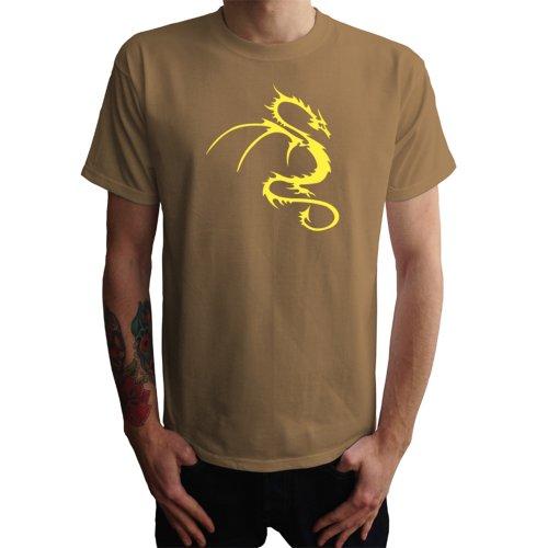 Drache Tribal Herren T-Shirt, khaki , XXL (Herren-braun-drache-shirt)