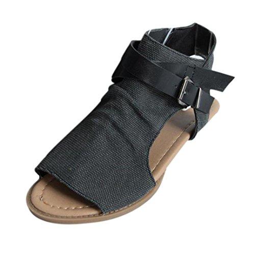 VJGOAL Damen Sandalen, Damen Mädchen Mode Hanf Roma Fisch Mund Schuhe Flache Ferse Solide Knöchelriemen Party Slipper Frau Geschenk (40 EU, Schwarz)