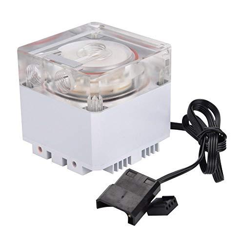 Richer-R Computer Wasserpumpe, Ultra Silent Wasserkühlung Pumpe 3000 RPM Schnelle Wärmeableitung,800L / H Durchfluss 3,5 Meter Pumpenkopf Water Cooling Pump Tank für PC Wasserkühlung(Weiß)
