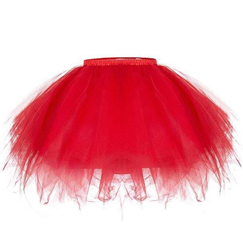ZeWoo Damen Tutu Unterkleid Kurz Blase Ballett Tanzkleid Ballklei Abendkleid Zubehör (Rot)