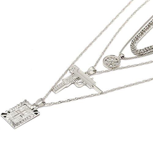 Schmuck,Trada Religiöse Art Multi Kette Halskette Kreuz Jungfrau Maria Anhänger Halskette für Frauen Schmuck Anhänger Halskette die Religiöse Kettenanhänger für Männer Frauen (Silber)