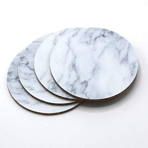 Runde Glas-marmor (4er Getränke-Untersetzer-Set mit Marmor-Motiv I Kork-Untersetzer in Marmor-Optik für Glas Tasse Becher I rund, abwischbar I dv_374)