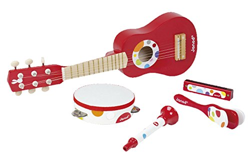 Janod Holzspielzeug - Kinder Instrumente Set- Gitarre Tamburin Harmonika Trompete Kastagnette- Musikinstrumente, Mehrfarbig