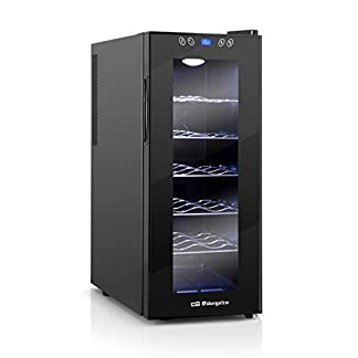 Orbegozo-VT-1210-Weinflasche-12-Flaschen-35-l-70-W-LED-digitales-Display-Touchscreen-5-Ablagen-zum-Herausziehen-verchromt