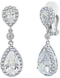 87d3655024e47a SELOVO Bridal Cubic Zirconia Clip-on Dangle Earrings Clear CZ Crystal Girls  Women Jewelry