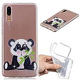 Edauto Huawei P20 Hülle Case Handyhülle Ultra Dünn Transparent Tasche Durchsichtige Stoßfest Schutzhülle Handytasche TPU Silikon Handyschale Rückhülle Backcover Bambuspanda