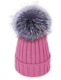 Amazon.it  cappello lana con pon pon - Rosa   Cappelli e cappellini ... e3fd4c3c9ccc