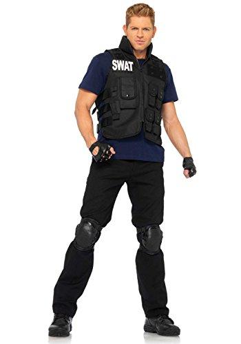 Leg Avenue 83682 - 4Tl. Swat Einsatzleiterin Kostüm Set Mit Utility Vest, Shirt, Knee Pads, Fingerlose Handschuhe, Herrenkostüm Einheitsgröße