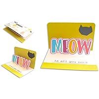 Miaou est tout ce dont vous avez besoin - amour poilu - pop-up - purrfect - chatons - chatons de mon coeur - carte de voeux avec enveloppe (10,5 x 15 cm) - carte faite à la main - blanc à l'intérieur