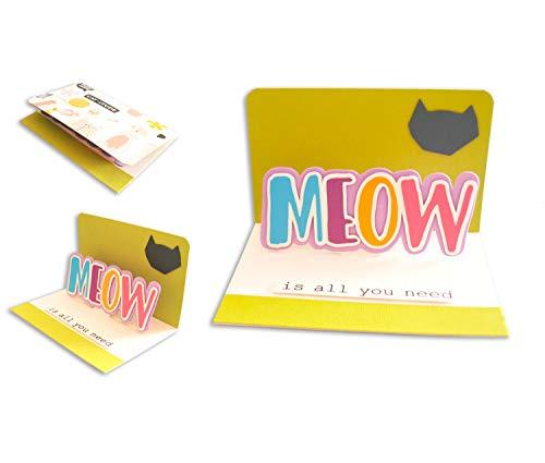 Miau ist alles was du brauchst - haarige Liebe - Pop-Up - Purrfect - Kätzchen - Kätzchen meines Herzens - Grußkarte mit Umschlag (10,5 x 15 cm) - handgemachte Karte - freier Raum nach innen