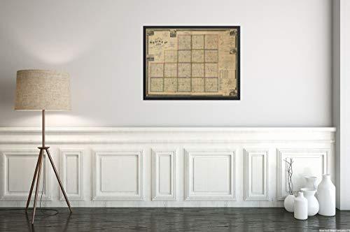 New York Map Company () 1857 Kunstdruck, Landkarte von Medina County, Ohio, 45,7 x 61 cm, fertig zum Rahmen, Vintage-Stil