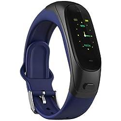 WXYIN Bluetooth Headset Bracelet, 0,96 Pollici 2 in 1 Smart Wristband con Pressione sanguigna Monitor della frequenza cardiaca Oltre 20 promemoria Fitness Tracker,Blue