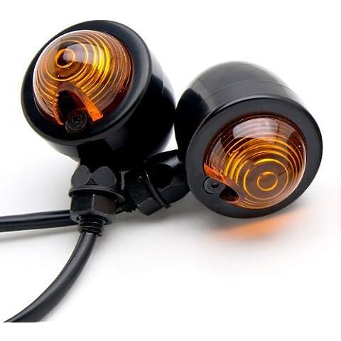 T Tocas (TM) 2pcs Nero Heavy Duty ambra Lens Moto Indicatori, Moto Indicatori di direzione luci di lampadina, DC12V universale