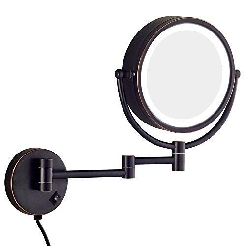 JL-Q 10X 7X Vergrößerung Wand-Kosmetikspiegel Mit LED-Licht, Schwarz Bronze 8-Zoll-Doppelseitige Drehspiegel,10X