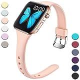 Wepro Bracelet pour Apple Watch 42mm 44mm, Bracelet de Remplacement en Silicone Souple Ultra Mince pour iWatch Series 4, Series 3, Series 2, Series 1, S/M Rose Sables