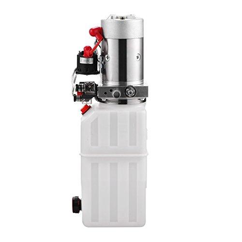 Segmay Hydraulic Pump 12V DC Double Acting Hydraulic Power Unit 8 Quart Plastic Tank Hydraulic Pump Power Unit for Dump Trailer Car Lifting