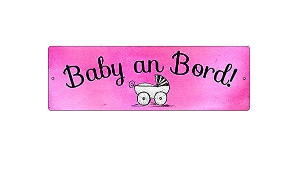 Kunststoffschild mit Saugnapf BABY AN BORD *PINK* Autoschild Kinderschild