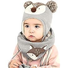 DORRISO Cappello Sciarpe Guanti Set Bambino Primavera Autunno Invernale  Carina Piccolo Volpe Beanie Cappelli Berretto Bambini 58f5989f3add