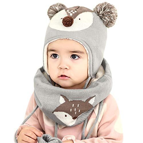 DORRISO Unisex-Baby Jungen Mädchen Mütze Schal Handschuh Set Frühling Winter Beanie Strickmütze Niedlich klein Fuchs Wintermütze 1-6 Jahre alt -