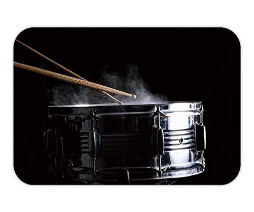 ASKYE Doormat Drum Sticks hit on The Snare Drum in Black Background Close up Low key15.7X23.6 Inches/40X60cm