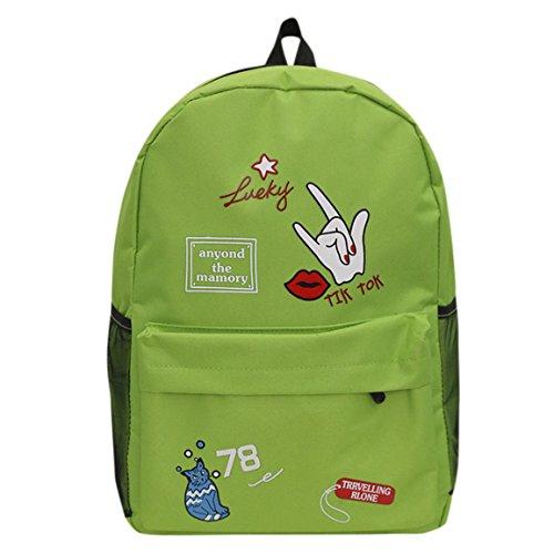 Moonuy Frauen Rucksack Mädchen Preppy Brief Lucky Print Schulter Bookbags lebhafte Mode Schule Reiserucksack Tasche