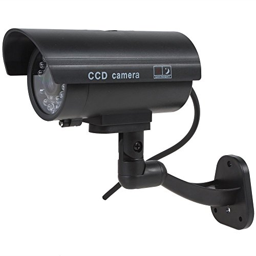 Kabalo Realistica falsa Telecamera Dummy sicurezza Sorveglianza CCTV LED rosso lampeggiante Indoor Nero [Realistic Fake Dummy CCTV Security Camera Flashing Red LED Indoor Outdoor Black]