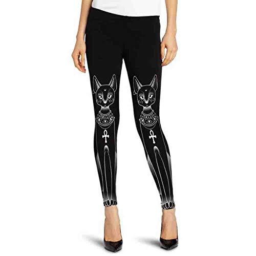 CICIYONER Mujeres Gato Egipcio Sello Hippie gótico Flaco Pantalones Casuales Medias Leotardos