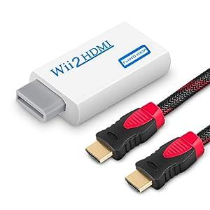 wovte Wii zu HDMI Konverter Real 720P 1080P HD Ausgang Video Audio Konverter Adapter mit High Speed HDMI Kabel 6FT unterstützt alle Wii Display Modi