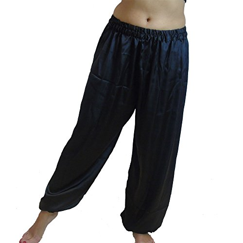 Dancers World Ltd (UK Seller) Bauchtanz Satin Harem Hosen für Dancing Tribal Dancer Kostüm - Junior S M, schwarz