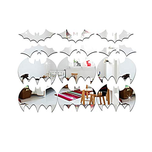 KIHUI 3D Wall Stickers batHalloween Decoration Party Bats Acrylic Mirror Wall Stickers Decal DIY Craft Home Decor (Halloween Party-stadt Für)