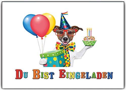Einladungskarten Kindergeburtstag Party Geburtstag Feier lustig witzig Hund Hunde - 10 Stück