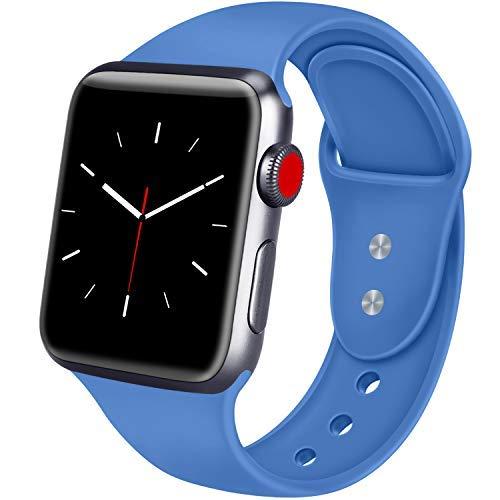 ATUP Correa Compatible para Apple Watch Correa 38mm 42mm 40mm 44mm, Correa de Repuesto de Silicona Suave para iWatch Apple Watch Series 4, Series 3, Series 2, Series 1 (08 Royal Blue, 42mm/44mm-M/L)