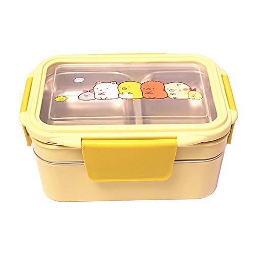 Ingrirt5Dulles Große Lunchbox aus Edelstahl für Mahlzeiten/Mahlzeiten/geeignet für den Arbeitsplatz, Picknick, Wandern, Camping Grün Double layer (Planetbox-lunch-box)