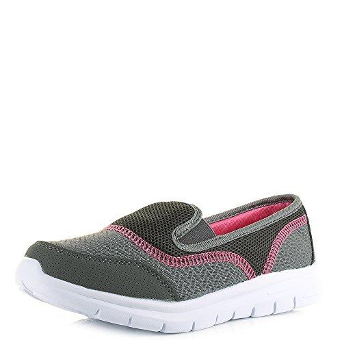 Womens Air Tech Reef Dark Grey Pink White Comfort Slip On Trainers...