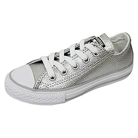 Converse Trainers - Converse Chuck Taylor Metallic Leather All Star Shoes - Pure Silver/White (Chuck Taylor Metallic Lo Top)