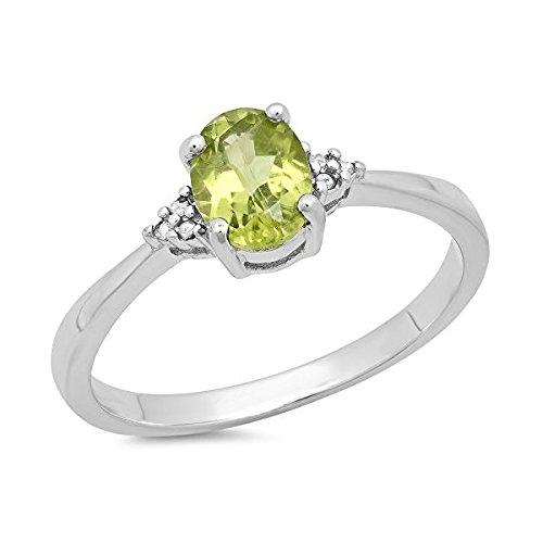 0,98Karat (ctw) Sterling Silber Oval Peridot & Diamant Rund Akzente Brautschmuck Versprechen Engagement Ring 1ct (Diamant 1ct Verlobungsringe)