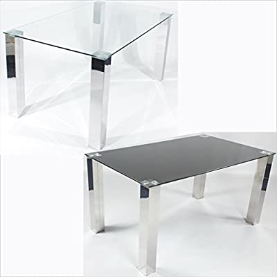 Charles Jacobs 1.5m Dining Table with Tempered Glass Top and Thick Chrome Legs for 4-6 Seats - Premium Quality - low-cost UK light store.