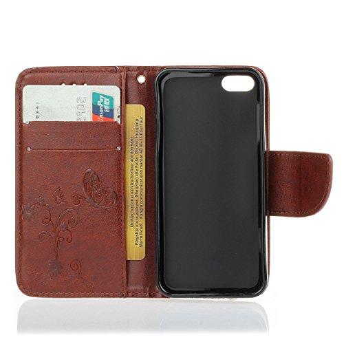 Voguecase® für Apple iPhone 7 hülle,(New York 01) Kunstleder Tasche PU Schutzhülle Tasche Leder Brieftasche Hülle Case Cover + Gratis Universal Eingabestift Blume/Braun