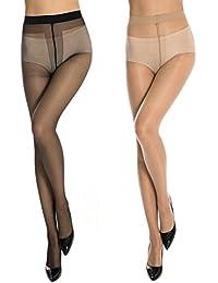 Geeta Laxmi Women's Stocking Black & Skin Panty Hose Pack of 2