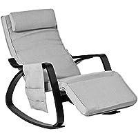 SoBuy® Schaukelstuhl mit Tasche (verstellbares Fussteil),Relaxstuhl,Relaxsessel, schwarzes Gestell, FST20-HG